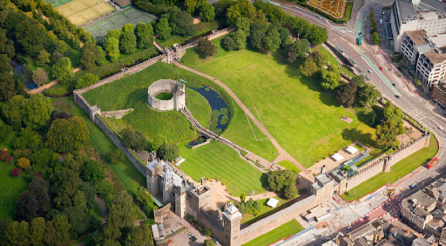 Aerial view of Cardiff CastleCardiffSouthCastlesHistoric Sites